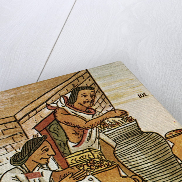 Illustration of Aztecs Storing Amaranth from the Florentine Codex by Corbis