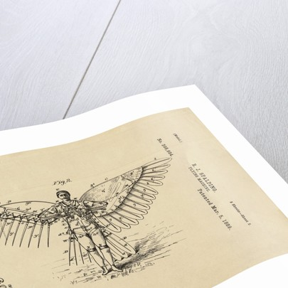 Diagram of Winged Flying Machine by Corbis