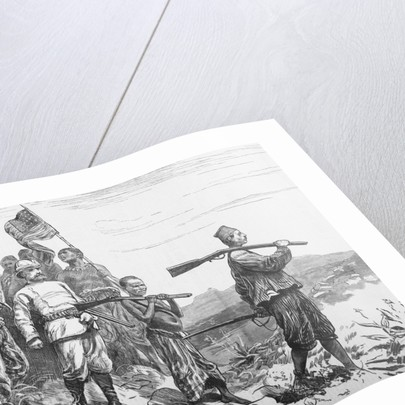 Illustration of Sir Henry Morton Stanley and His Party Crossing Terrain by Corbis