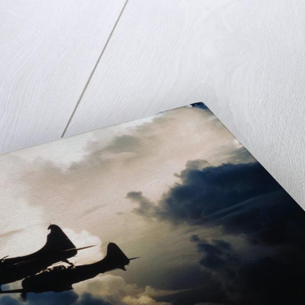 US Navy SBD Dauntless Dive Bombers in Flight by Corbis