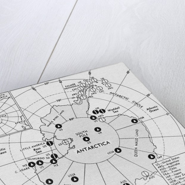 Map of Research Stations in Antarctica by Corbis