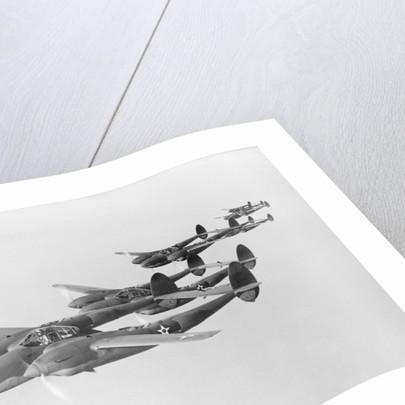 View of Lockheed P38 Interceptors Flying by Corbis