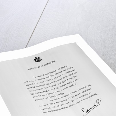 Edward VIII's Abdication Document by Corbis
