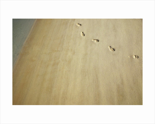 Aerial shot of footprints in wet sand by Corbis
