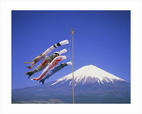 Japan: Mount Fuji and windsocks by Corbis
