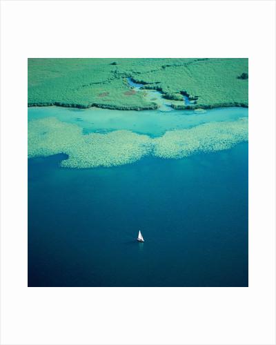 Sailing boat on lake, Bavaria, Germany by Corbis