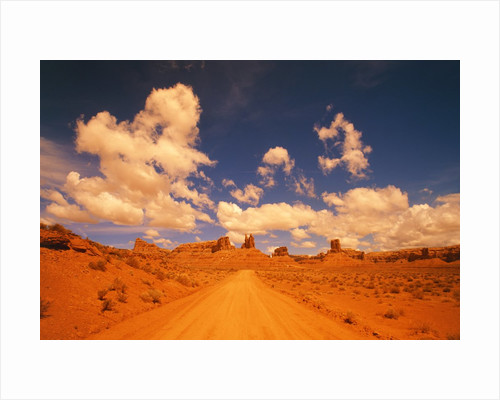 Road and sandstone formations, Valley of the Gods, Arizona, USA by Corbis