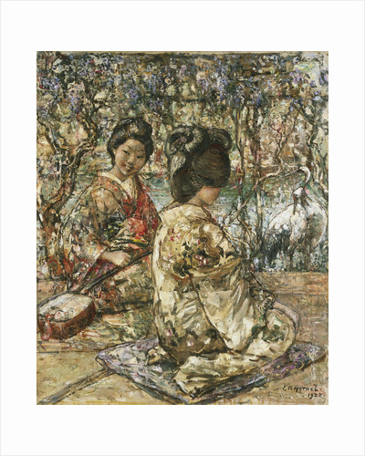 Geisha Girls in a Japanese Garden by Edward Atkinson Hornel