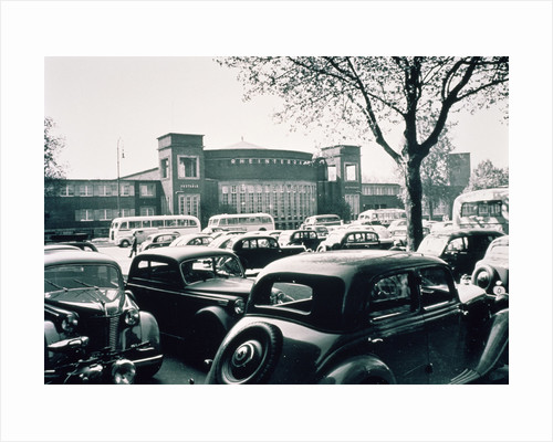 D / Duesseldorf: Historic picture of the Rheinterrasse building with parking cars by Corbis