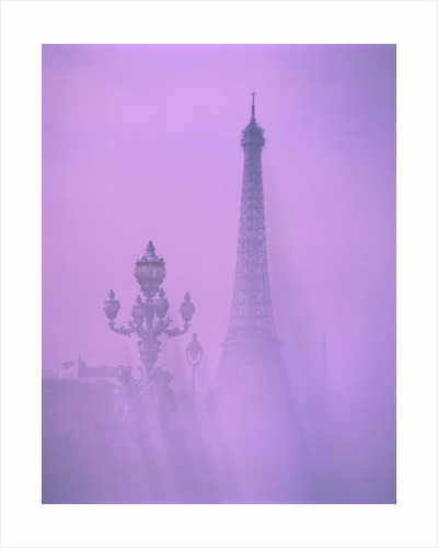 Eiffel tower and candelabra with fog in Paris by Corbis