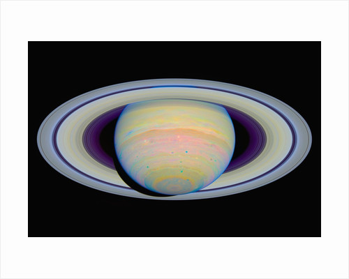 Color-Stretched View of Saturn by Corbis