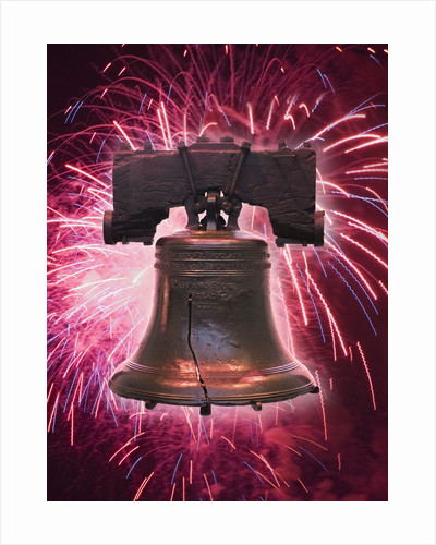 The Liberty Bell and Fireworks by Corbis