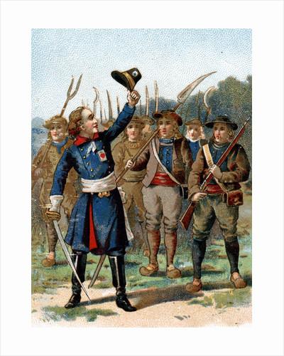 Trade Card of Henri de la Rochejaquelein Leading a Revolt by Corbis