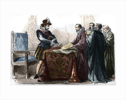 Illustration of Henry IV Signing the Edict of Nantes by Corbis