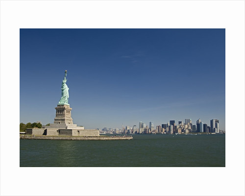 Statue of Liberty, Liberty Island and New York Skyline by Corbis