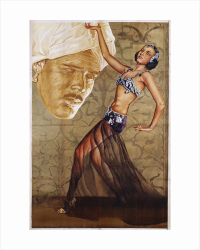 Poster with a Belly Dancer and a Man in a Turban by Corbis