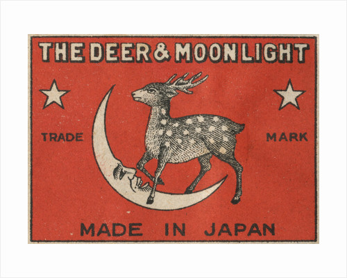 The Deer and Moonlight Matchbox Label by Corbis