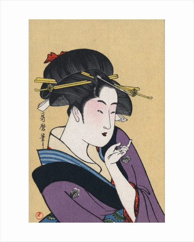 Japanese Matchbox Label with a Beckoning Woman by Corbis