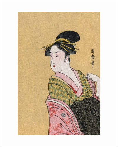 Japanese Matchbox Label with a Woman in a Pink and Green Kimono by Corbis