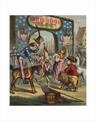 19th-Century Illustration of Uncle Sam and Departing British Soldiers by Corbis
