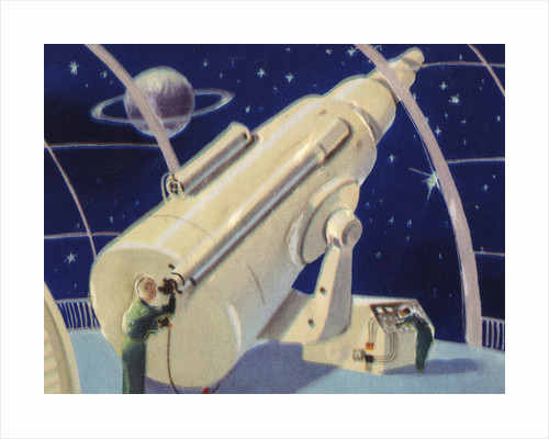 Biekens Pictorial Sticker with a Giant Telescope by Corbis