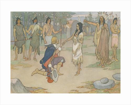 Book Illustration of John Smith Kneeling Before Pocahontas by E. Boyd Smith