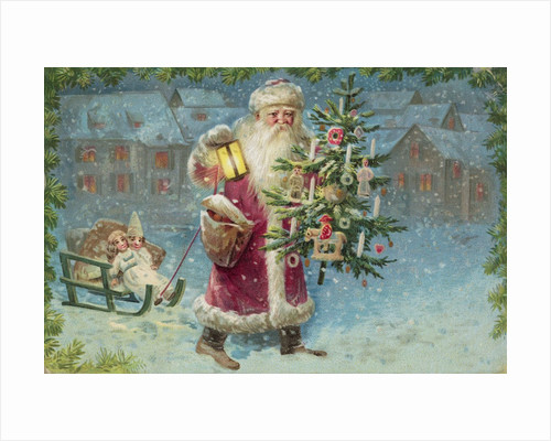 Postcard with Santa Claus Holding a Christmas Tree by Corbis
