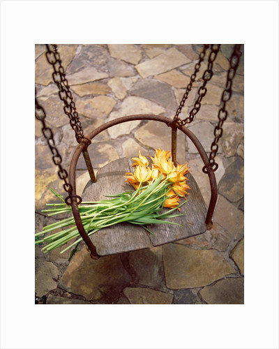 High angle view of a bunch of yellow flowers on the swing by Corbis