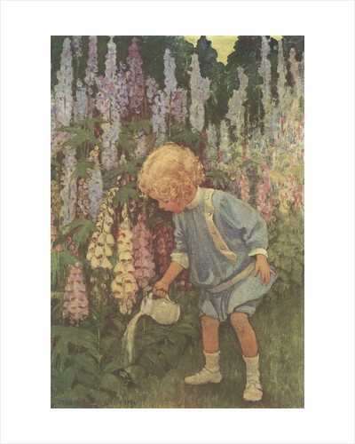 Illustration of a Child Watering Plants by Jessie Willcox Smith