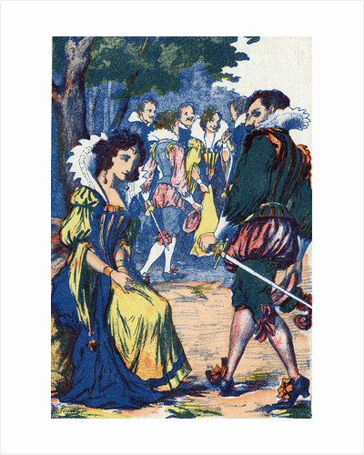 Illustration of a Courtier Walking Away from a Princess by Corbis