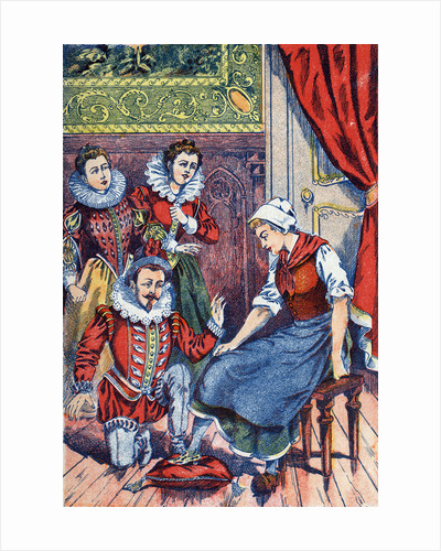 Illustration of Cinderella Trying on the Glass Slipper by Corbis