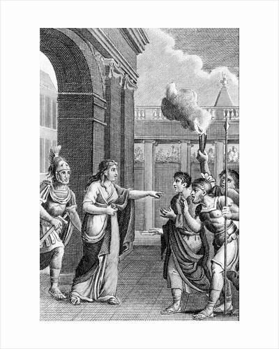 Illustration of Semiramis Calming an Insurrection by Corbis