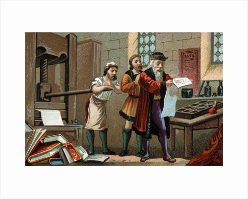 Illustration of Johannes Gutenberg Printing the First Sheet of the Bible by Corbis