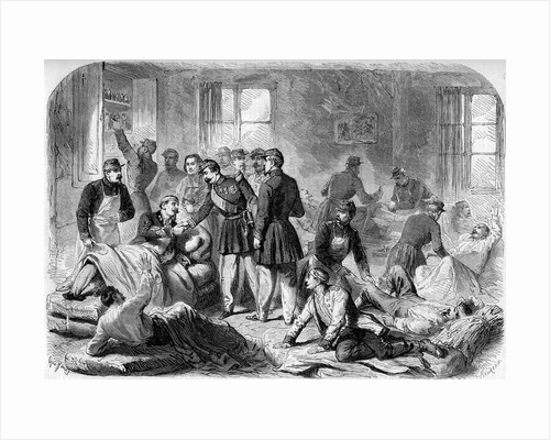 Illustration of Napoleon III Visiting the Wounded of the Battle of Montebello by Corbis