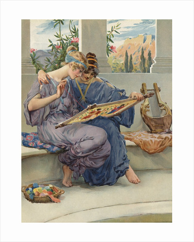 Illustration of Two Women Embroidering by Corbis