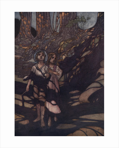Hansel and Gretel in the Forest Illustration by Charles Robinson