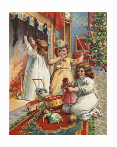 Illustration of Children on Christmas Eve by Corbis