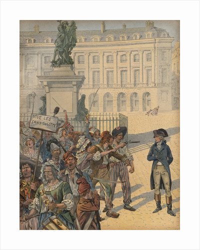 Illustration of Napoleon Standing Up to a Revolutionary Mob by Jacques Onfroy de Breville