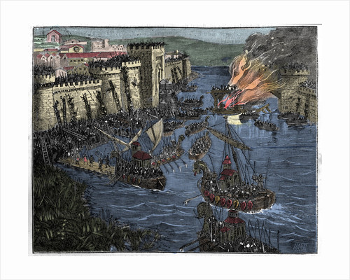Illustration of Normans Laying Siege to Paris by Corbis