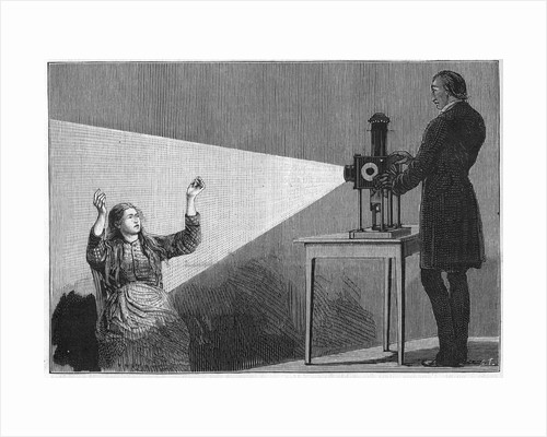 Illustration of Jean-Martin Charcot Using Light to Hypnotize a Patient by Corbis