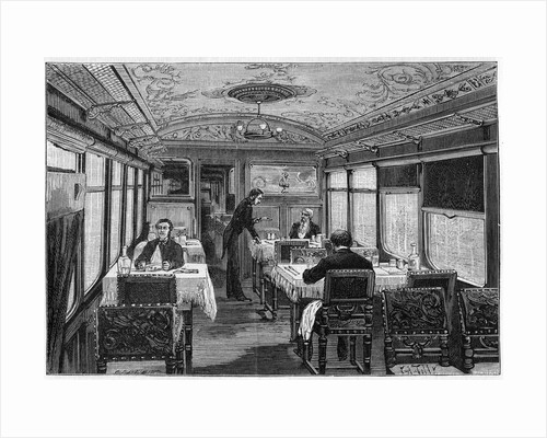 Illustration of a Dining Car on the Orient Express by Corbis