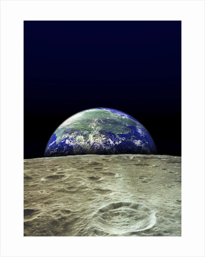 Earth Rising Over Moon by Corbis