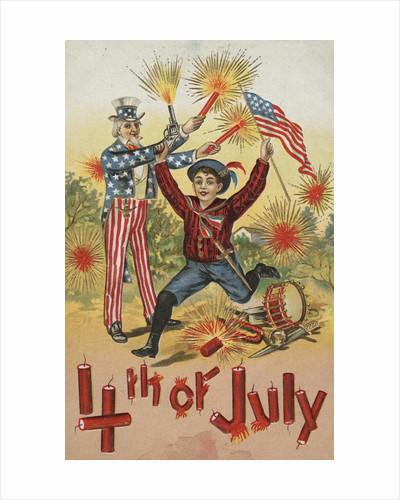 4th of July Postcard with Firecrackers by Corbis