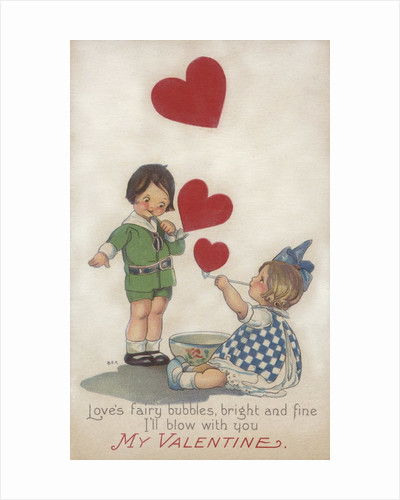 My Valentine Postcard with Children Blowing Heart Bubbles by Corbis
