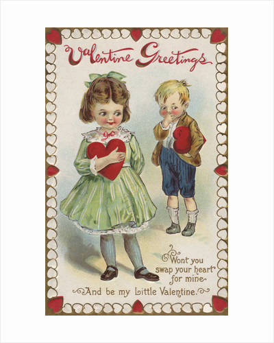 Valentine Greetings Postcard with a Girl and Boy by Corbis