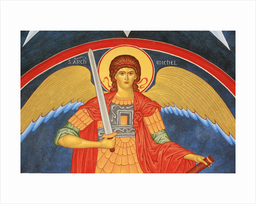 Saint Michael Fresco at Monastery of Saint-Antoine-le-Grand by Corbis