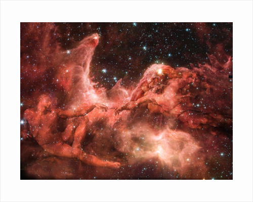 Adam and God Touching in Nebula by Corbis