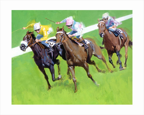 Three horses racing on a track by Corbis