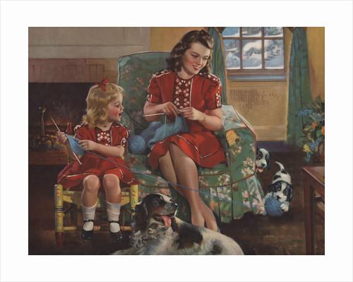 Calendar Illustration of Mother and Daughter Knitting by F. Sands Bruner