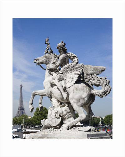 Statue of Deity Riding Winged Horse with Eiffel Tower in Background by Corbis